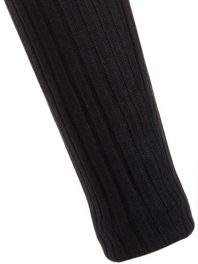 Long Sleeve Bodycon Plunge Dress - BLACK S Mobile