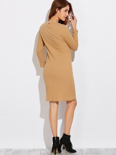 High Furcal Long Sleeve Dress - KHAKI XL Mobile