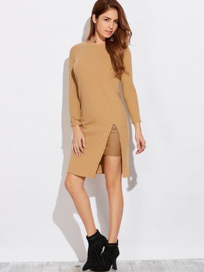 High Furcal Long Sleeve Dress - KHAKI M Mobile