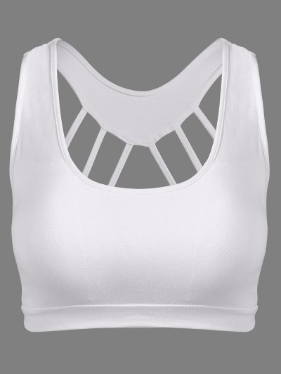 Padded Back Strappy Yoga Top - WHITE ONE SIZE Mobile