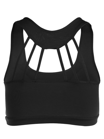 Padded Back Strappy Yoga Top - BLACK ONE SIZE Mobile