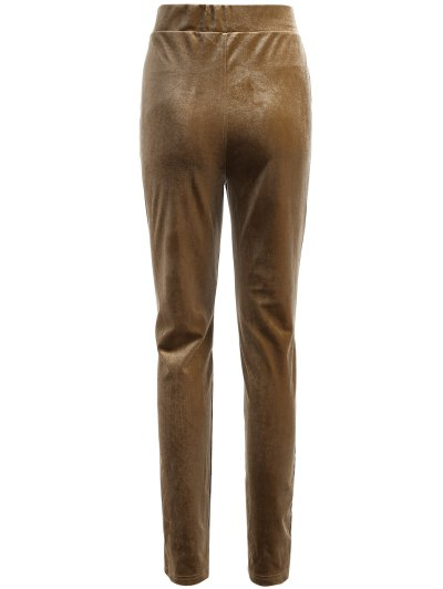 Slimming Metallic Color Leggings - LIGHT COFFEE XL Mobile