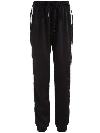 Striped Drawstring Gym Pants - BLACK M Mobile