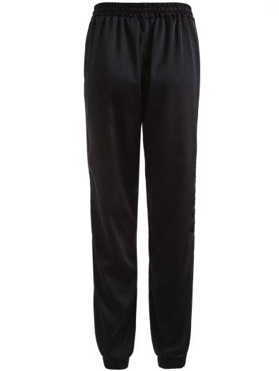 Striped Drawstring Gym Pants - BLACK S Mobile