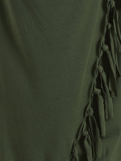 Tassels Side Button Cape - ARMY GREEN L Mobile