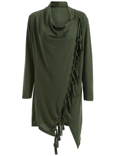 Tassels Side Button Cape - ARMY GREEN M Mobile