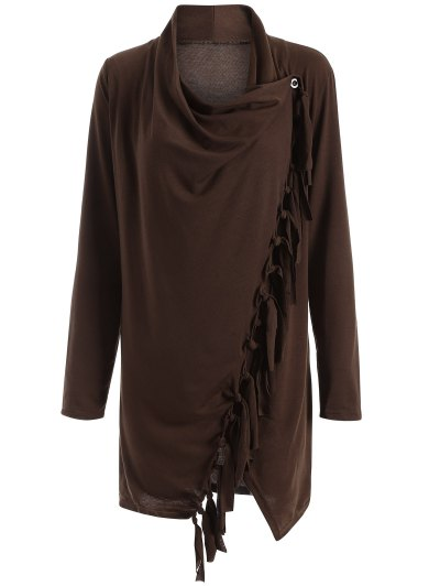 Tassels Side Button Cape - COFFEE 3XL Mobile