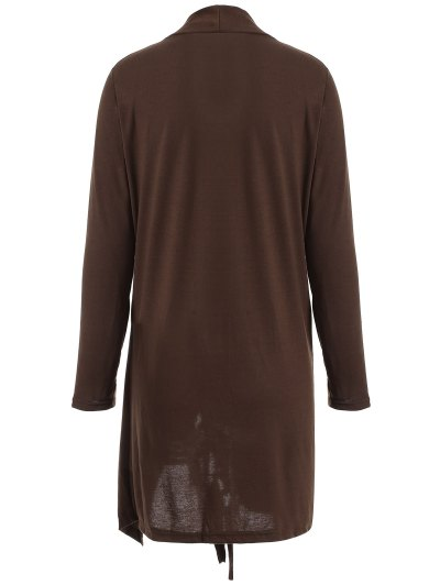 Tassels Side Button Cape - COFFEE L Mobile