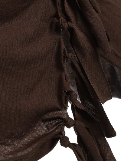 Tassels Side Button Cape - COFFEE S Mobile
