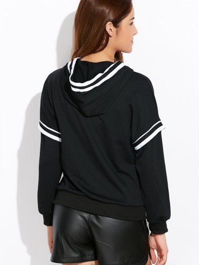 String Striped Hoodie - BLACK L Mobile