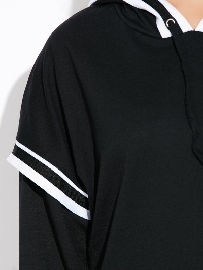 String Striped Hoodie - BLACK M Mobile