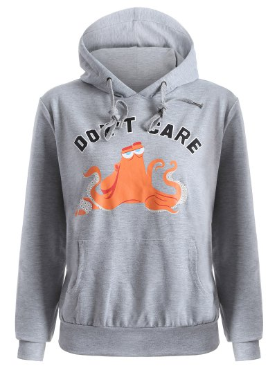 Front Pocket Drawstring Cartoon Hoodie - GRAY L Mobile