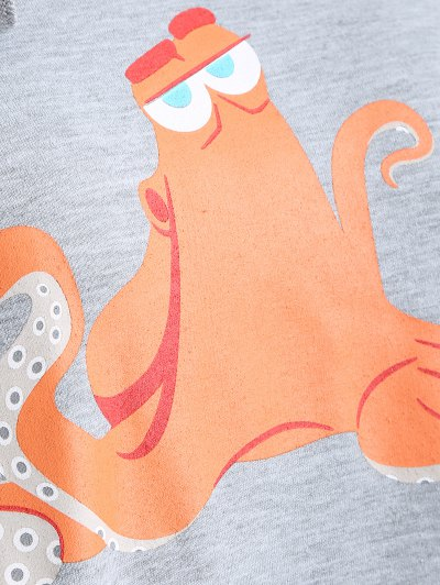 Front Pocket Drawstring Cartoon Hoodie - GRAY S Mobile
