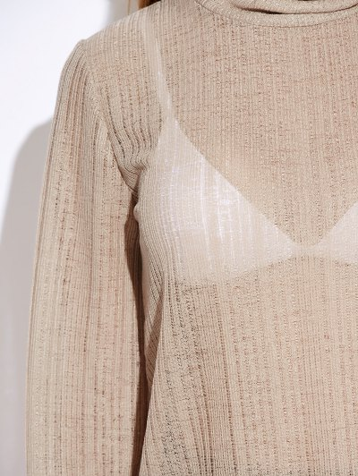Back Cut Out Lace Up Turtle Neck Knitwear - OFF-WHITE L Mobile