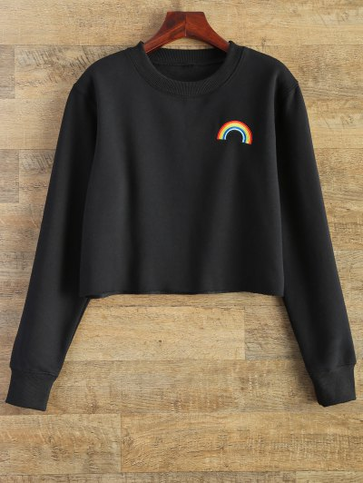 Rainbow Embroidered Cropped Sweatshirt - BLACK M Mobile