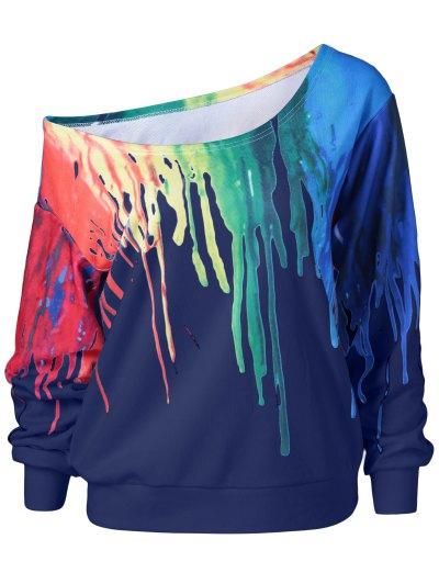 Skew Collar Dripping Paint Sweatshirt - BLUE 4XL Mobile