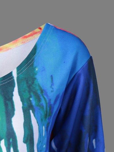 Skew Collar Dripping Paint Sweatshirt - WHITE 5XL Mobile