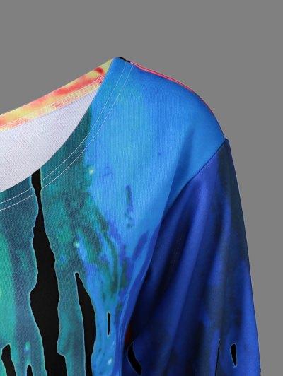 Skew Collar Dripping Paint Sweatshirt - BLACK 5XL Mobile