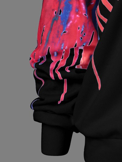 Skew Collar Dripping Paint Sweatshirt - BLACK 4XL Mobile