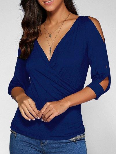 Cold Shoulder V Neck Top - DEEP BLUE M Mobile