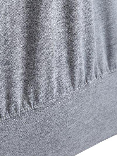 One Shoulder Letter Sweatshirt - GRAY 2XL Mobile