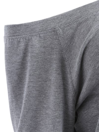 One Shoulder Letter Sweatshirt - GRAY XL Mobile