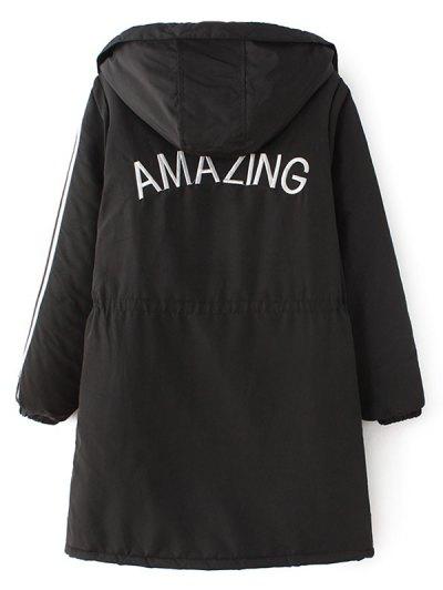 Padded Embroidered Parka Coat - BLACK M Mobile