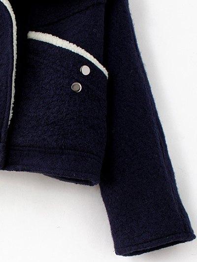 Wool Blend Borg Collar Jacket - PURPLISH BLUE M Mobile