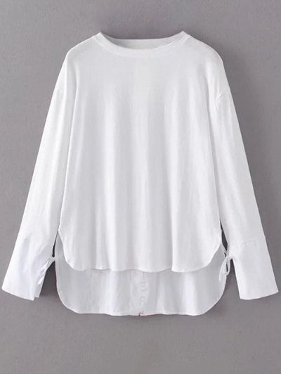 Tie Sleeve High Low Hem Tee - WHITE M Mobile
