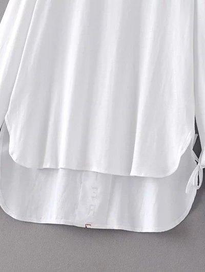 Tie Sleeve High Low Hem Tee - WHITE S Mobile