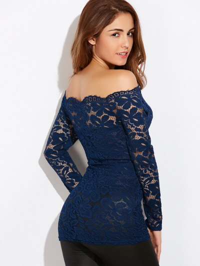 Fitting Off The Shoulder Lace Blouse - BLUE M Mobile