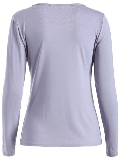Buttons Runched Surplice T-Shirt - GRAY XL Mobile