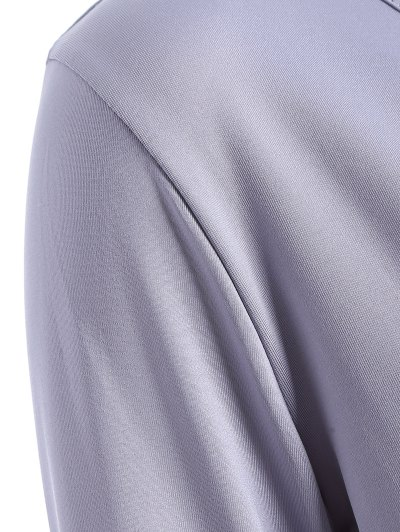 Buttons Runched Surplice T-Shirt - GRAY L Mobile