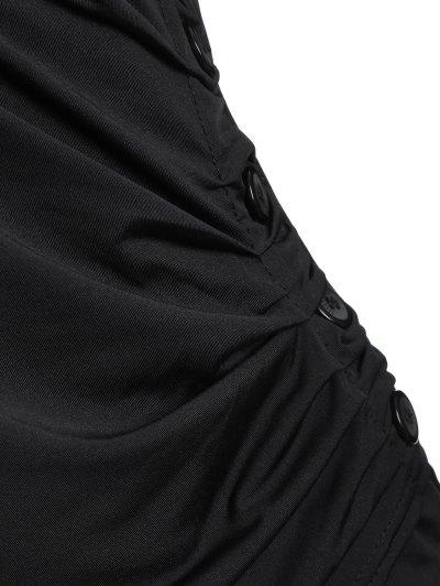 Buttons Runched Surplice T-Shirt - BLACK L Mobile