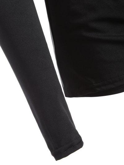 Buttons Runched Surplice T-Shirt - BLACK M Mobile