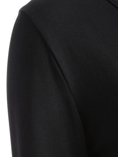 Buttons Runched Surplice T-Shirt - BLACK S Mobile