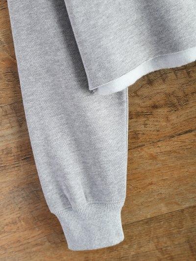 Raw Hem Cropped Sweatshirt - GRAY L Mobile