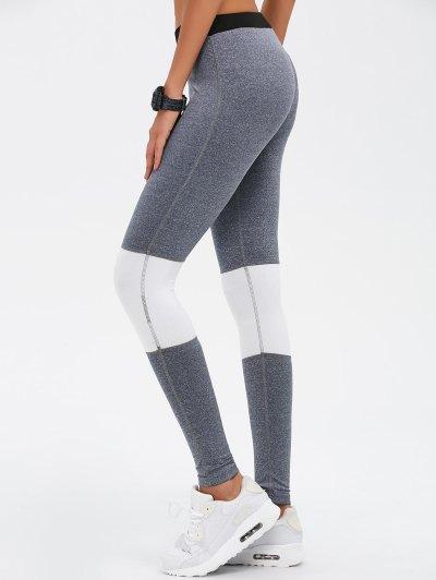 Color Block Skinny Yoga Leggings - GRAY L Mobile