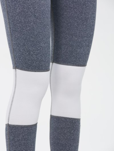Color Block Skinny Yoga Leggings - GRAY M Mobile