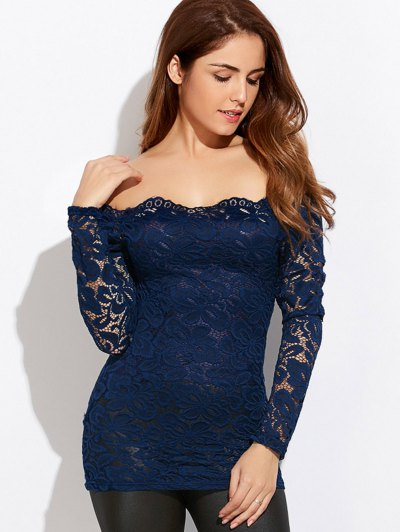 Fitting Off The Shoulder Lace Blouse - BLUE S Mobile