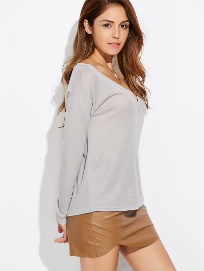 Loose Casual Knitwear - GRAY XL Mobile