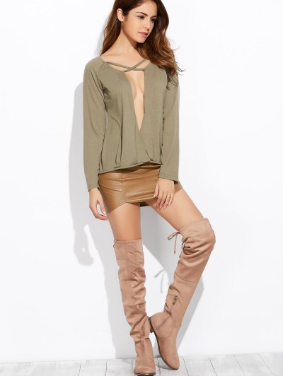 Plunging Neck Long Sleeve Crossover Top - ARMY GREEN M Mobile