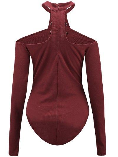 Long Sleeves Lace Up Cold Shoulder Bodysuit - BURGUNDY XL Mobile