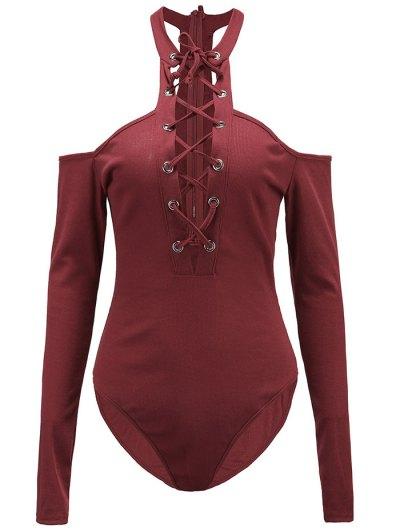 Long Sleeves Lace Up Cold Shoulder Bodysuit - BURGUNDY L Mobile