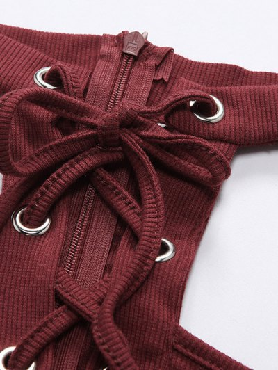 Long Sleeves Lace Up Cold Shoulder Bodysuit - GRAY M Mobile