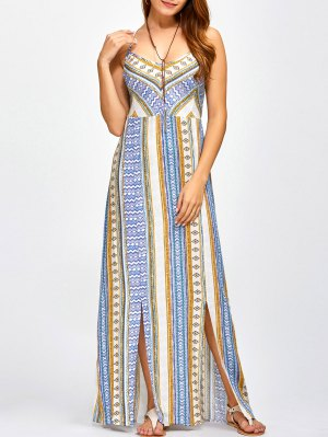 Sweetheart Cami Maxi Bohemian Dress - Blue