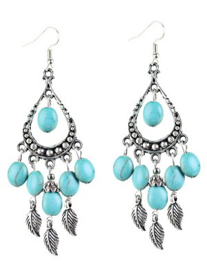 Bohemian Faux Turquoise Leaf Chandelier Earrings - Silver