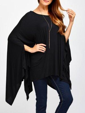 Asymmetric Scoop Neck Cape T-Shirt - Black
