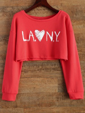 Letter Patterned Cropped Sweatshirt - Red