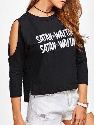 Cold Shoulder Graphic Side Slit T-Shirt - Black